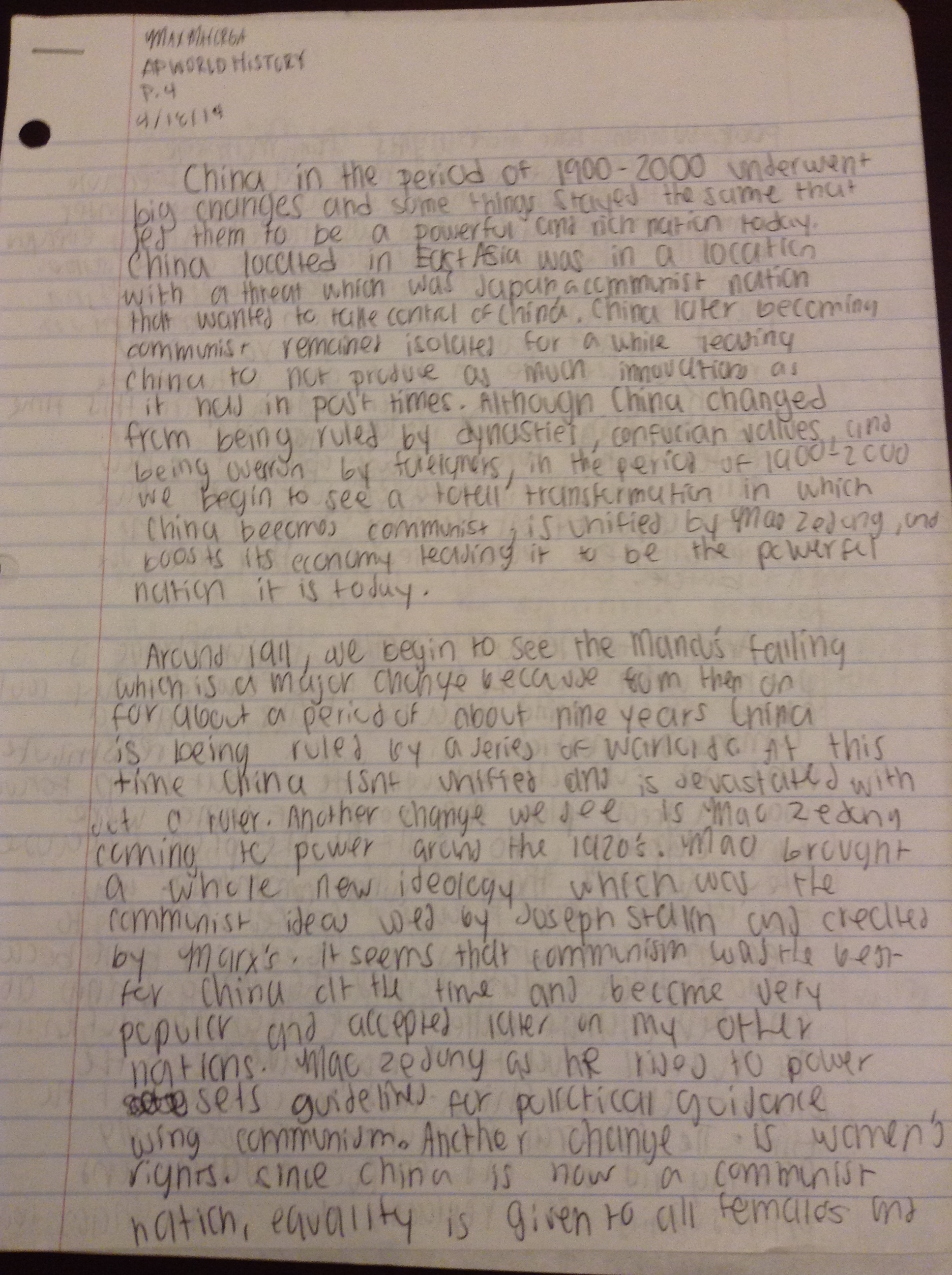 max s ap portfolio the ccot essay shows that i learned to memorize time periods and write in chronological order